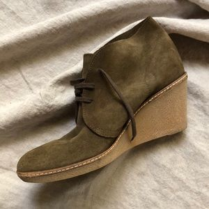 j. crew Suede Wedge Boots in Brown